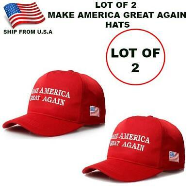 Lot Of 2 (Two) Make America Great Again Red Hats   Donald Trump 2020