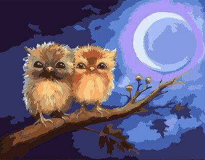 Pair of Little Owls Lunar Night HP Design Printed Needlepoint Canvas C#149