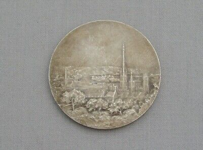 FRENCH SILVERED BRONZE ART MEDAL MEDALLION ROUEN CATHEDRAL P.ANQUETIL c.1900