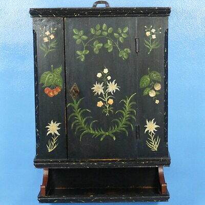 Antique Swiss Wood-Carved WALL CABINET Hand Painted Edelweiss c1880 KEY WORKS