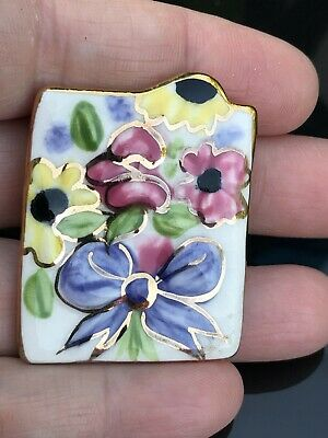 Floral Painting on Ceramic Pottery Vintage Pin Brooch D-3072