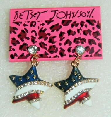 Betsey Johnson earrings Patriotic or Political campaign red/white/blue stripes