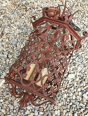 antique large iron ornate lantern CEILING LIGHT arts and crafts Moroccan
