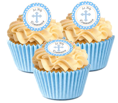12 Pre Cut Blue Polka dot 1st Holy Communion Edible Cupcake Decorations Toppers