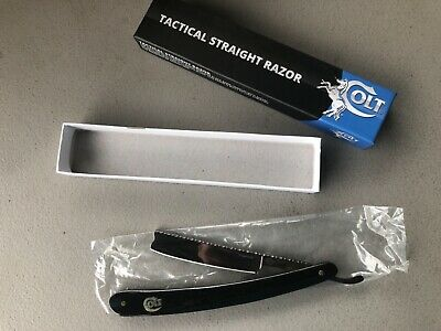 Colt CT648 Titanium Tactical Straight Razor New Old Stock Real Black Bone