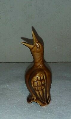 "Vintage English (?) Ceramic Brown Pie Bird Vent Funnel 4.5"" tall VGUC"