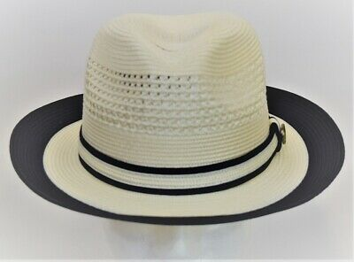 Men/'s Fedora Dress Casual Summer Straw Hat Solid Red BC-614 100/% Poly Braid