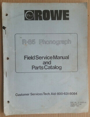 R-85 juke box field service manual & parts catalogue
