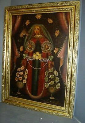 Colonial Antique Cuzco School The Hilander Virgin Large Oil Painting C.1800's.