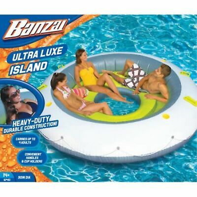 """Inflatable Floating Island Pool Water Party Lounge 4 Person 90"""" Giant Raft Lake"""