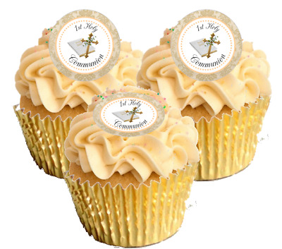 12 Pre Cut Gold / Cream 1st Holy Communion Edible Cupcake Decorations Toppers