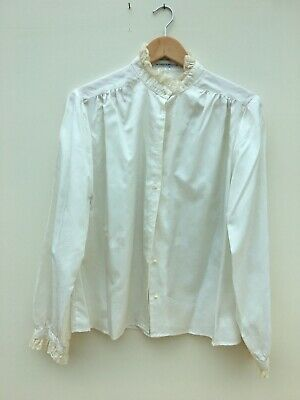 Vintage Cream Silk Like Windsmoor 70'S In 20'S 30'S 40'S Style Lace Neck Blouse
