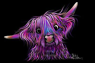 'HuCKLeBeRRY THe HiGHLaND CoW' PRINTS of Original Painting by Shirley MacArthur