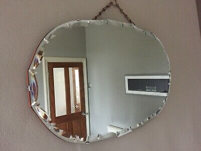 Vintage Frameless Oval Wall Mirror Fancy Cut Bevelled Edges Chain 61x35cm m221