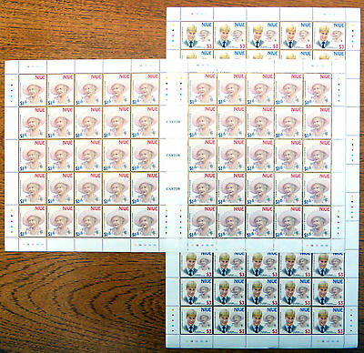 NIUE Wholesale Queen Mother Birthday (2) in Complete Gutter Sheets of 50 BN1970