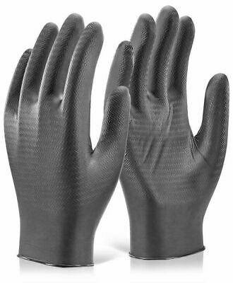 Glovezilla® Black Nitrile High Grip Disposable Gloves Boxes of 100
