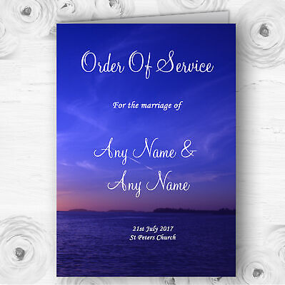 Beautiful Blue Purple Sunset Beach Wedding Double Sided Cover Order Of Service