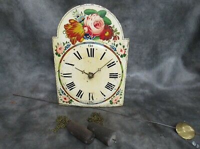 A Complete 30 Hour Black Forest Painted Shield Wall Clock For Restoration