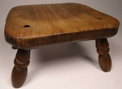 Antique 19Th C. Ash Milking Stool - Yorkshire, Signed Ht
