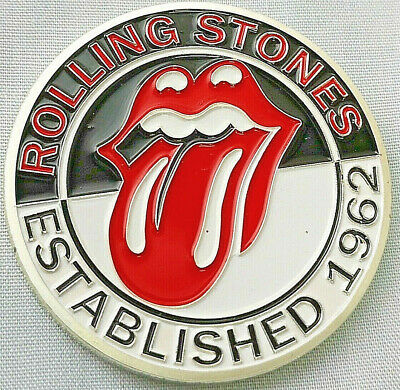 Rolling Stones Silver Coin Red Lips Kiss Lips Teeth Tongue Logo Mick Jagger 1962
