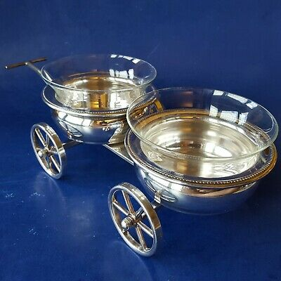F B Rogers 517 Silverplated Wagon Wheel Double Condiment/Relish Caddy with Bowls