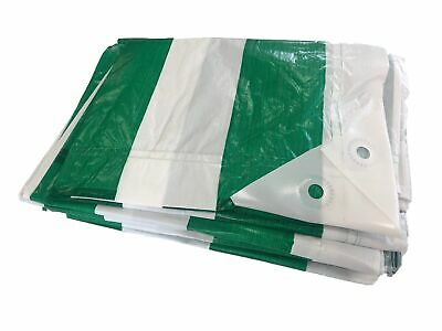 YUZET GREEN WHITE STRIPED MARKET STALL TARPAULIN 2m x 6m waterproof cover
