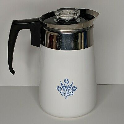 CORNING WARE Cornflower Blue 6 Cup Stovetop Coffee Pot with Lid   NO Percolator
