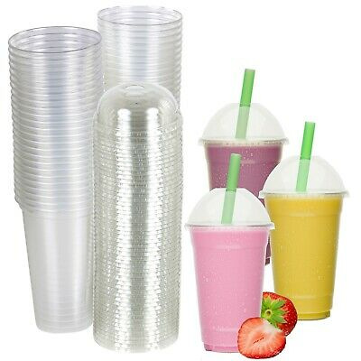 50x 20oz Disposable Smoothie Cups Domed Lids Clear Plastic Party Milkshake Juice
