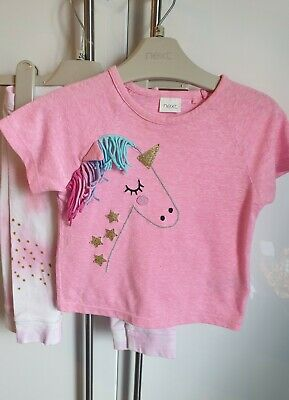 Next Girls Pink Unicorn Pony T-shirt Top 2 White Leggings Set Outfit 6-12 Months