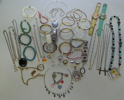 Lot of Vintage & Contemporary Costume Jewelry Necklaces, Bracelets, Watches