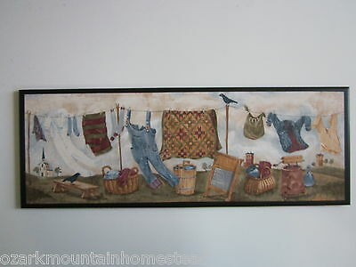 Laundry Room Sign Country Clothesline wall decor plaque primitive rustic picture