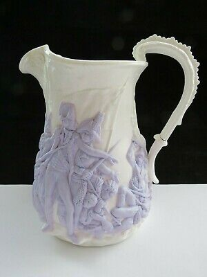 Victorian Samuel Alcock Parian Ware Jug 115 Napoleon Battle Of Acre relief