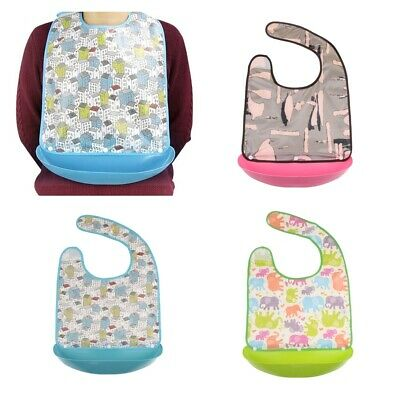 3pcs Waterproof Adult Bibs with Food Catcher Mealtime Clothing Protector