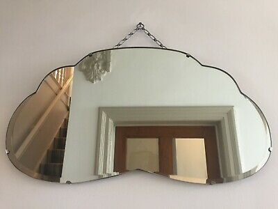 Vintage Frameless Bevelled Wall Mirror Rare Cloud Shape Original Chain 65cm m224