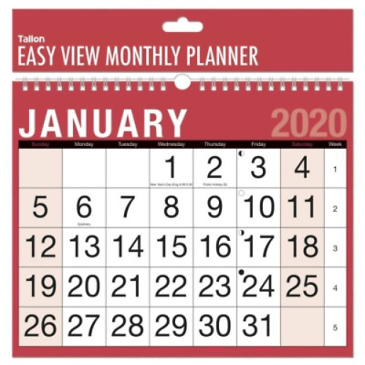 2020 Month To View Large Numbers  Red And Black Calendar 3802