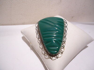 Vintage Taxco Mexico Sterling Silver Filigree Carved Jade Face Mask Pin Brooch