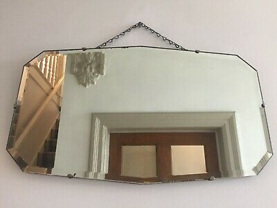 Vintage Frameless Wall Mirror Bevelled Edge Hanging Chain 1940s 56x33cm m225
