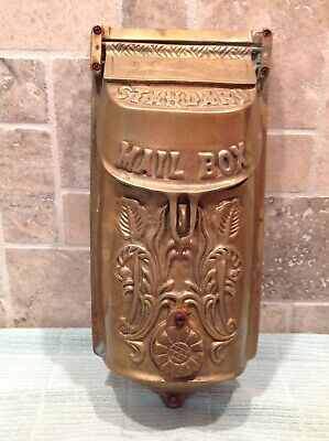 Vintage Victorian Brass Standard Residential Mailbox Wall Ornate Art Antique