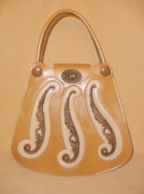1960's Golden Brown Leather Boho Hippy Chic Purse by Mahler w/ Wood Accents
