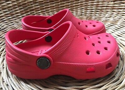 Crocs Classic Kids Girls' Boys' Unisex Red Clogs Slip-On Sandals UK 8-9 EU 25-26