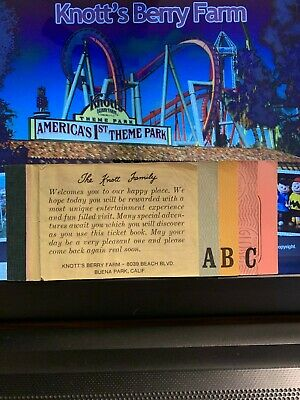 Knotts Berry Farm Vintage Coupon Book Very Good + With Abc Tickets