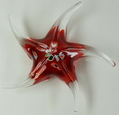 "6"" Venetian Murano Hand Blown Glass Red Star Fish Paperweight Millefiori Cane"