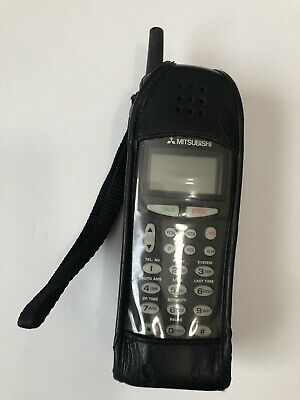 Vintage MITSUBISHI Cell Phone with Leather Case No Charger