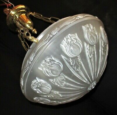 Vtg Deco Era Shabby Chic 3 Chain Glass Shade Ceiling Light Chandelier Fixture