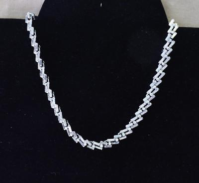 """Early 50s Signed TRIFARI Crown Silvertone Bagette Rhinestone 14""""+1 1/4"""" Necklace"""