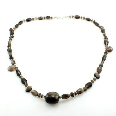 Necklace natural smoky quartz faceted beads gemstone 925 sterling silver jewelry