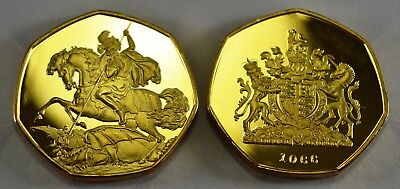 ST GEORGE & THE DRAGON Gold Commemorative ERROR COIN Albums/Filler Collectors