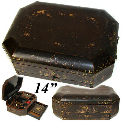 "Antique Victorian Era Chinese Export Lacquer 14"" Sewing Box, Chest with Fittings"