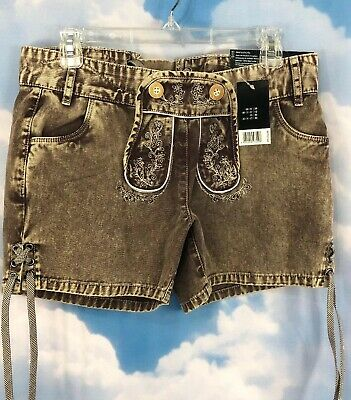 Ladies Bavarian Lederhosen Shorts Cotton Comfort Cool Brown NWT Euro 38 US M