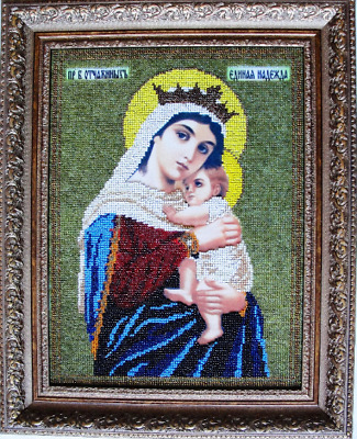 Virgin Mary Desperate with Child Byzantine icon Embroidery art One Hope beading